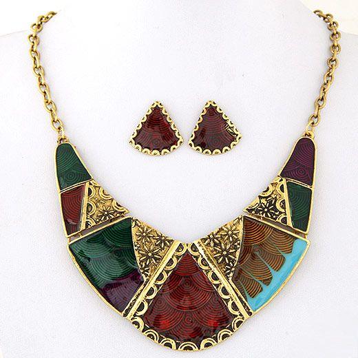 Metal geometric shape contrast color temperament necklace earrings set NHSC181231