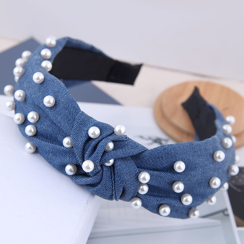 Nailed pearl denim fabric knotted hairpin hair accessories retro middle knot headband hair jewelry women NHSC181232