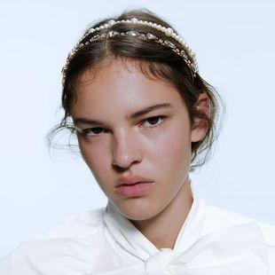 Fashion street shooting diamond headband hair show pearl headband hair accessories NHMD182265's discount tags