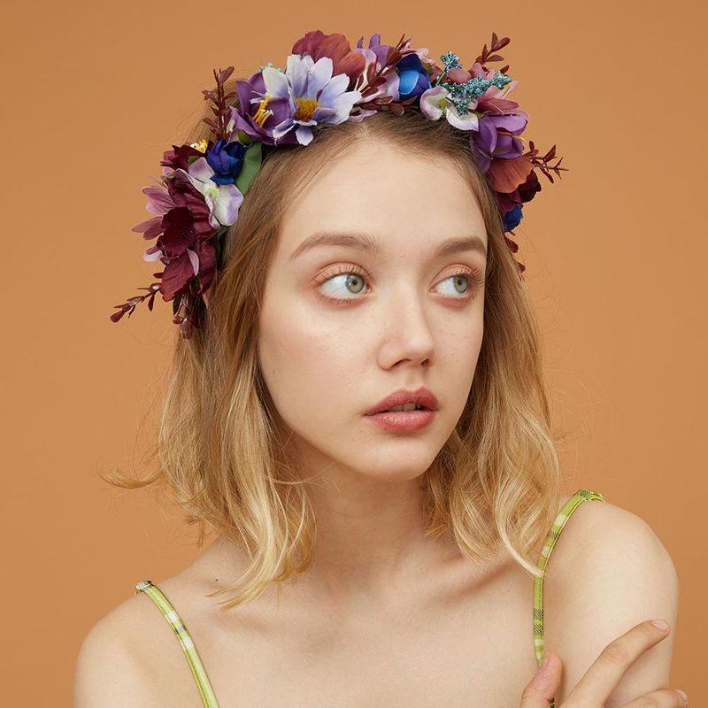 New bride fashion romantic purple garland creative wedding season new hair accessories NHMD182266