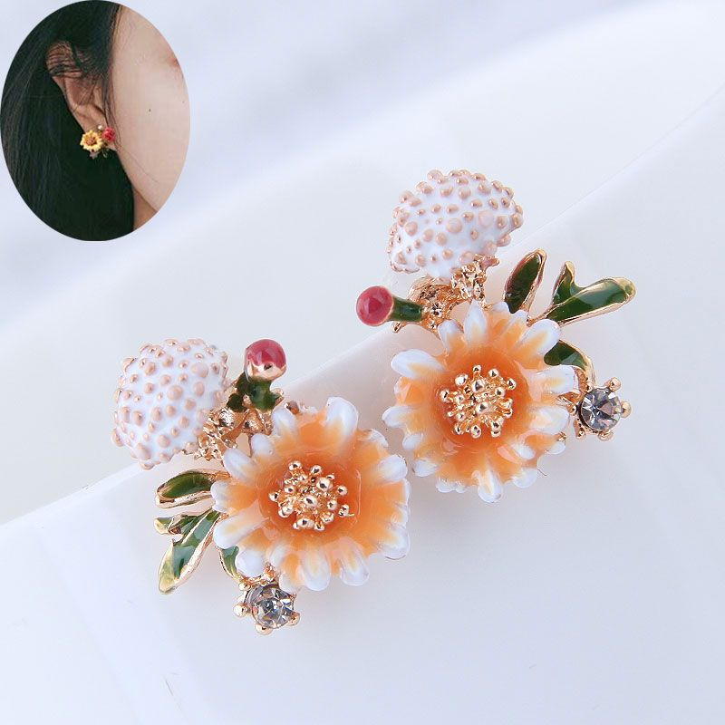 Simple and sweet flower personality LO female earrings NHSC181188