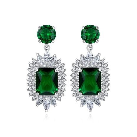 Earrings Fashion Korean New Simple Ladies Banquet Copper Inlaid Zircon Earrings NHTM182425's discount tags