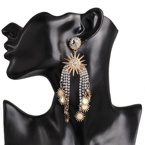 New European stud claw chain diamond tassel starry earrings women NHJJ182230