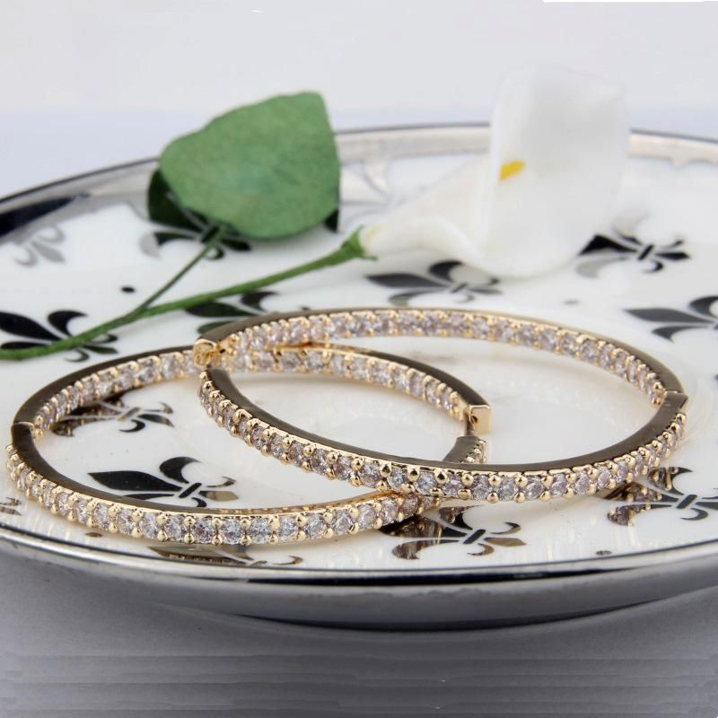 fashion jewelry wholesale copper plated round single row zircon earrings NHBP182449