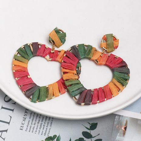 Heart-shaped earring jewelry hollow alloy dyed color raffia braided female earrings new NHJJ182231's discount tags