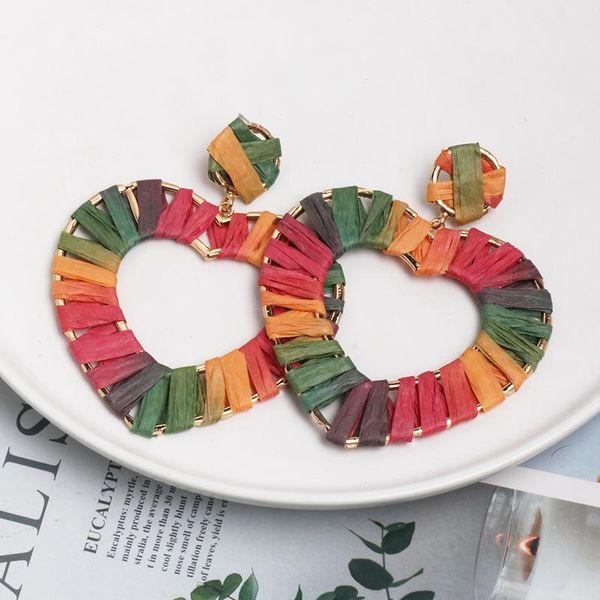 Heart-shaped earring jewelry hollow alloy dyed color raffia braided female earrings new NHJJ182231