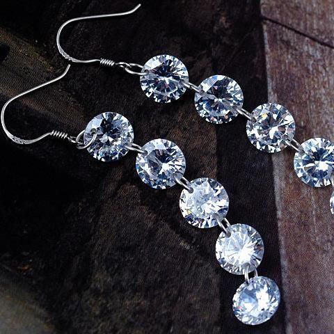 New 925 sterling silver jewelry electroplated real gold five-link diamond tassel zircon earrings NHLJ182355