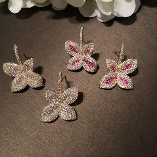 Fashion luxury leaf earrings gold micro-inlaid zircon gas earrings simple bride earrings jewelry NHWK182490's discount tags