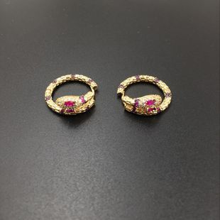 Simple Snake Stud Earrings Gold Micro Inlaid Zircon Delicate Luxury Stud Earrings fashion jewelry wholesale NHWK182505's discount tags