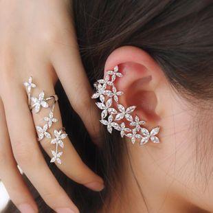 Sweet Flower Earrings Asymmetric Micro-Set Zircon Flower Ear Bone Stud Earrings Silver S925earrings NHWK182509's discount tags