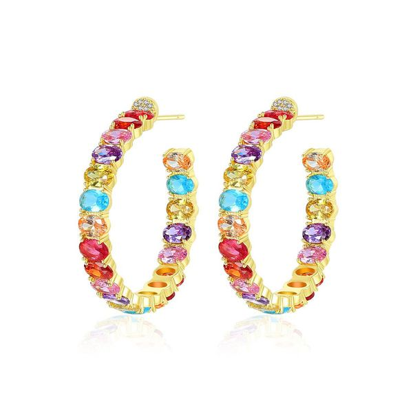 fashion jewelry wholesale fashion ladies colored copper inlaid zircon earrings NHTM182409