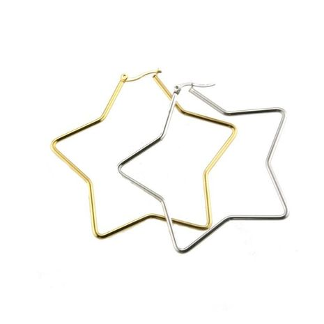 fashion jewelry wholesale stainless steel gold steel star large earrings NHBP182445's discount tags
