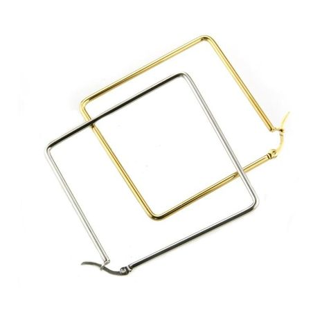 fashion jewelry wholesale stainless steel gold steel square large earrings NHBP182446's discount tags