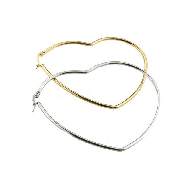 fashion jewelry wholesale stainless steel gold steel heart shaped large earrings NHBP182447