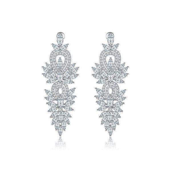 fashion jewelry wholesale AAA Zircon Super Flash Bridal Dinner Earrings Wholesale NHTM182413