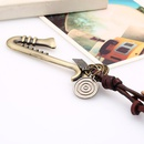Vintage cowhide rope alloy musical instrument cowhide necklace sweater chain long money chain fashion wild jewelry NHPK182406
