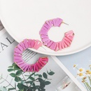 Cshaped earrings jewelry hollow alloy dyed color raffia woven female earrings new NHJJ182232