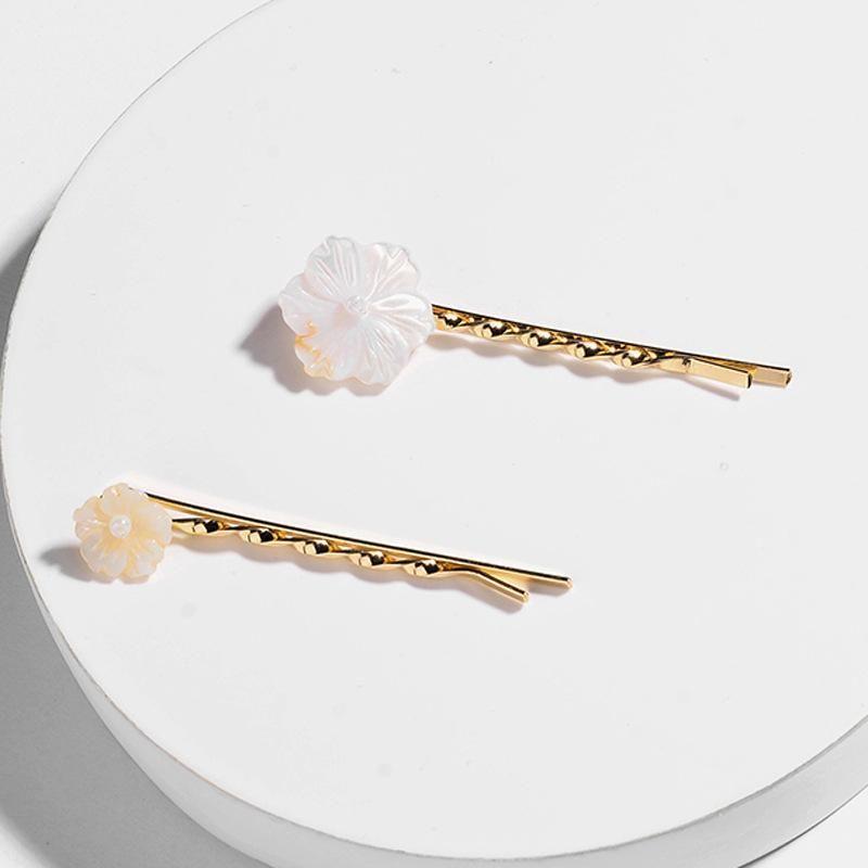 Natural freshwater pearl shell flower hairpin word clip edge clip female hair accessories NHLU182789