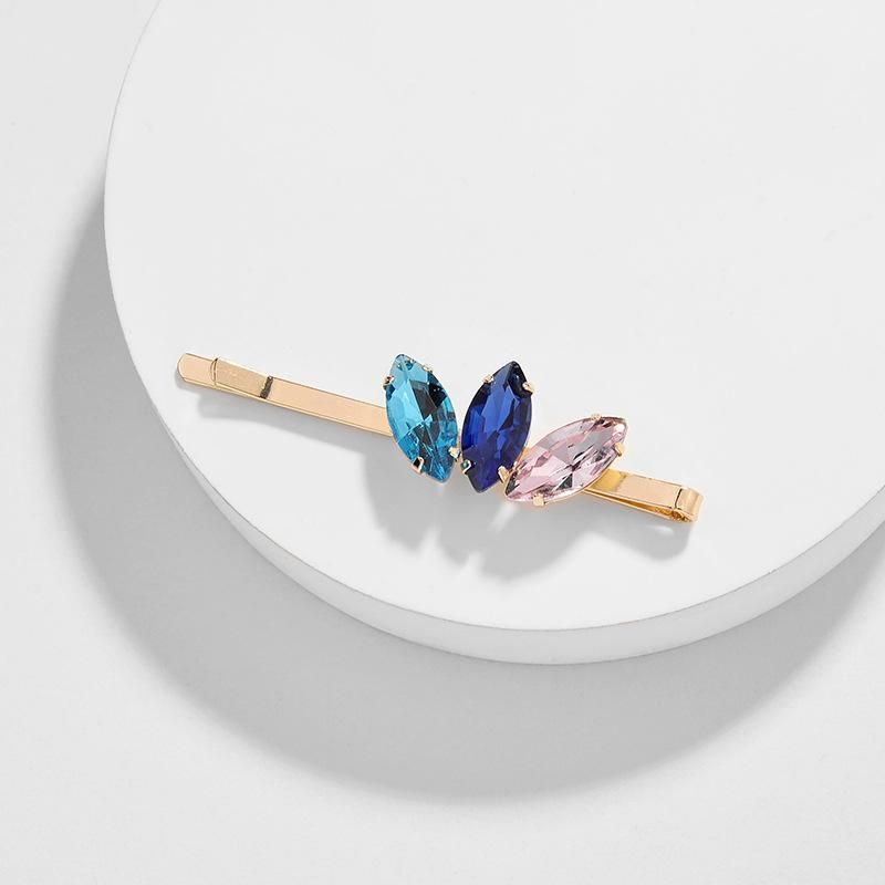 AB coated crystal flower women's hair accessories hair clip word clip NHLU182790