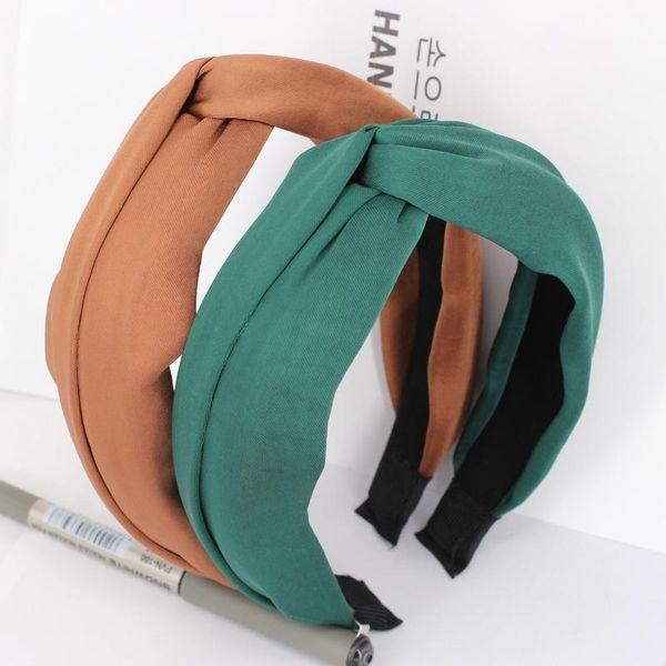 Korean hair hoop wide edge cloth headband simple wild cross knot NHDM182690