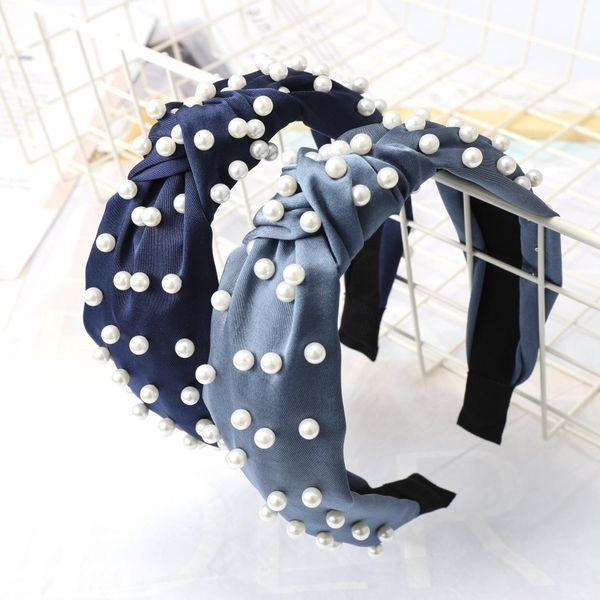 Pearl headband simple knotted headband wholesale NHDM182696