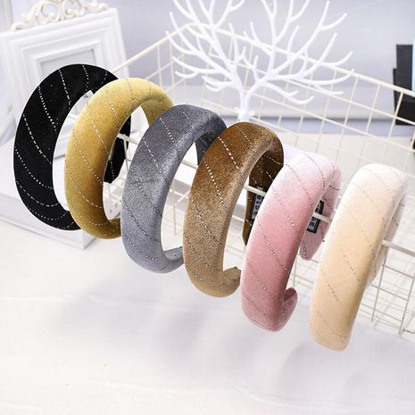 Models sponge headband autumn and winter models solid color velvet head buckle wholesale NHDM182698's discount tags