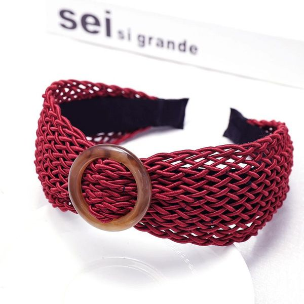 Korean version of hand-woven round buckle headband hair accessories personalized card NHDM182704