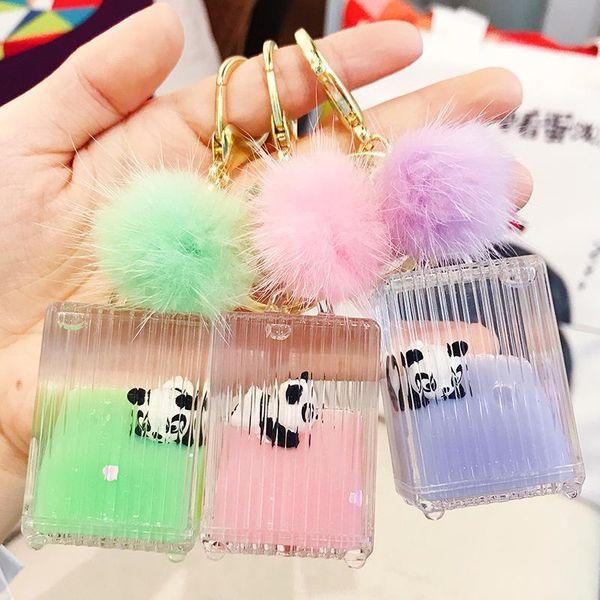 Suitcase panda keychain cute cartoon car key chain NHBM182661
