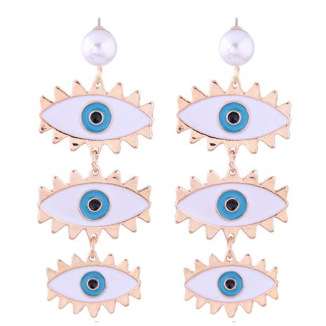 European and American fashion metal simple demon eye temperament exaggerated earrings NHSC182512's discount tags