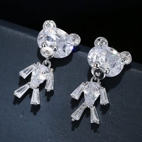 EH10297 Korean fashion sweet OL simple cute bear zircon personality temperament earrings NHSC182627's discount tags