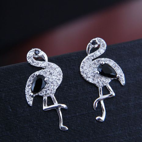 10722 exquisite Korean fashion sweet OL inlaid zirconium simple swan personality earrings NHSC182637's discount tags
