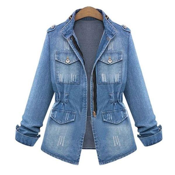 2019 European and American explosion models retro wild slim women's denim jacket NHJC182542