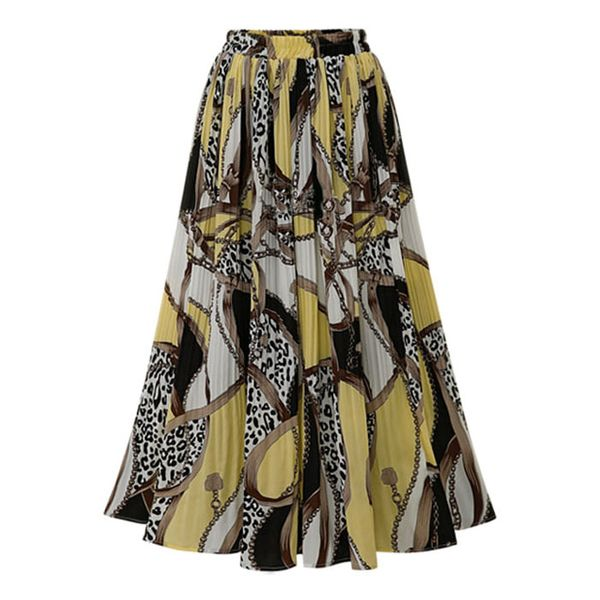 2019 European and American plus size women's printed chiffon pleated skirt NHJC182548