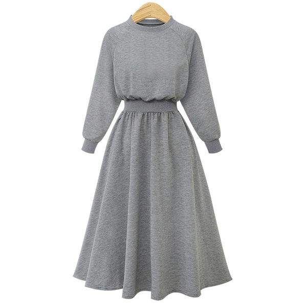 2019 autumn and winter Europe and the United States large size solid color long-sleeved sweater dress women NHJC182549