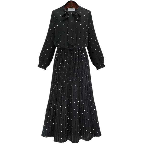 2019 Bohemian Plus Size Polka Dot Print Long Sleeve Pleated Long Dress NHJC182550