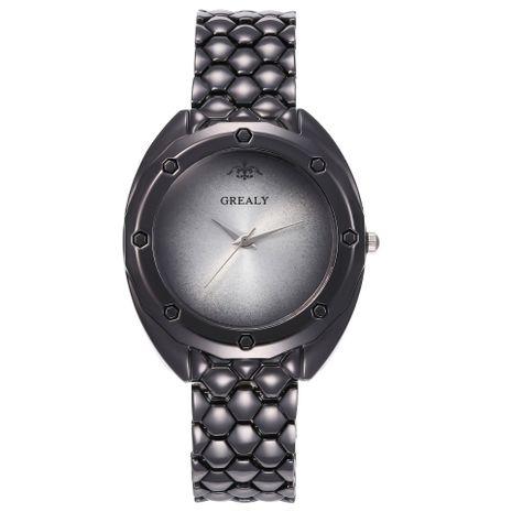Nuevos relojes escala de remache de mujer conjunto de aleación de moda reloj de banda de acero reloj de cuarzo al por mayor NHHK182656's discount tags