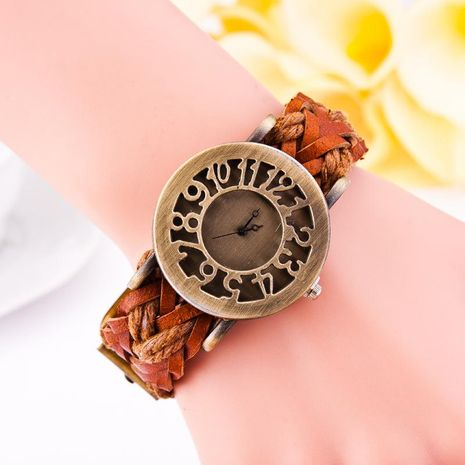 Reloj caliente tejido de piel de vaca vintage reloj hueco cabeza pulsera reloj mujer reloj NHSY182817's discount tags