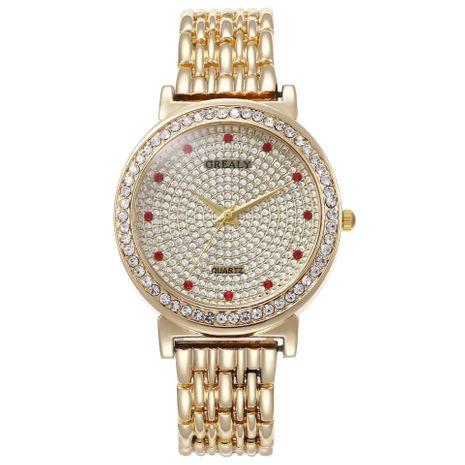 Nuevo reloj de mujer Full Diamond Red Diamond Alloy Set Steel Band Watch Reloj de cuarzo al por mayor NHHK182645's discount tags