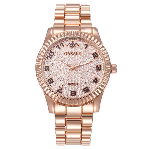 New watch digital scale fashion starry alloy set steel band watch men and women quartz bowl watch wholesale NHHK182646
