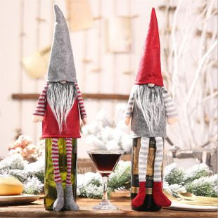 New Christmas Champagne Wine Bottle Dress Up Decorations Christmas Faceless Doll Hanging Leg Bottle Set Decoration NHMV182597's discount tags
