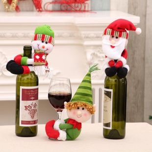 Christmas Home Decorations Christmas Doll Wine Bottle Set Wine Bottle Set Decoration NHMV182598's discount tags