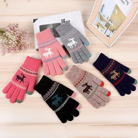 Jacquard double deer clothing accessories outdoor sports warm gloves wholesale NHDM182703's discount tags
