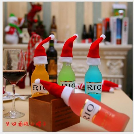 Decoraciones navideñas, gorro navideño, sombrero cepillado, gorro navideño, juego de cuchillos y tenedores, decoración navideña de botellas de vino NHMV182601's discount tags