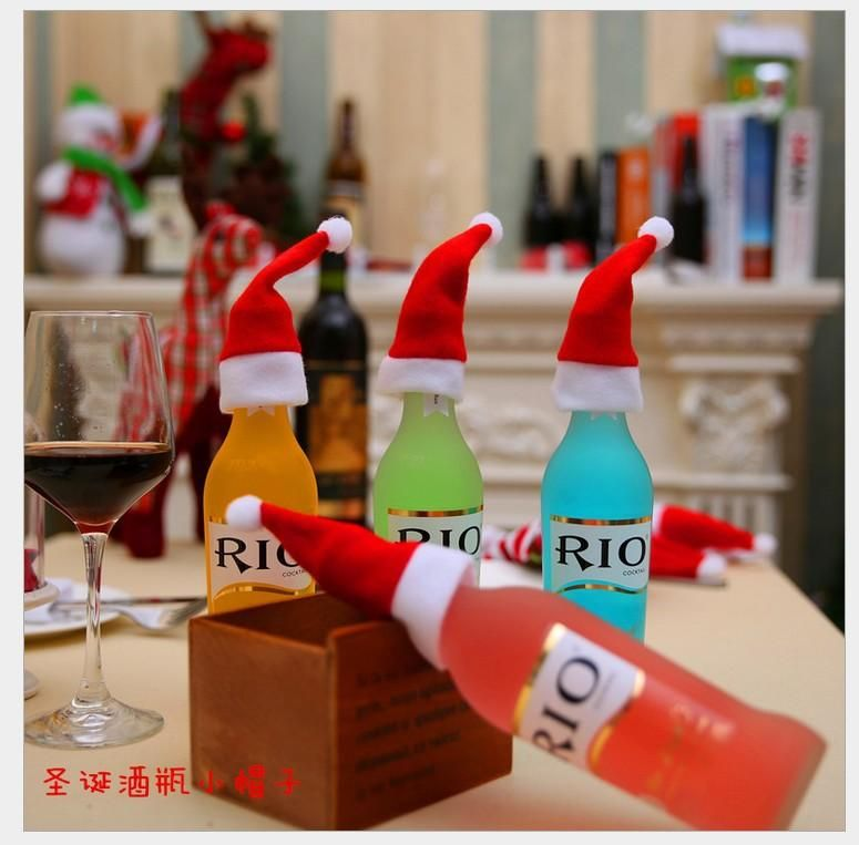 Christmas decorations, Christmas cap, brushed hat, Christmas hat, knife and fork set, Christmas wine bottle decoration NHMV182601