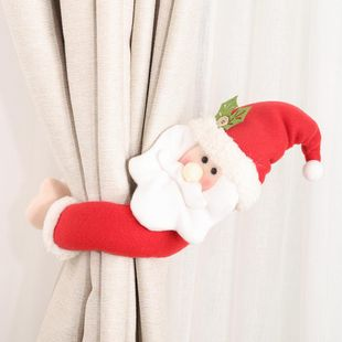 New Christmas decoration supplies trumpet creative curtain buckle cartoon elderly snowman elk curtain decoration NHHB182574's discount tags