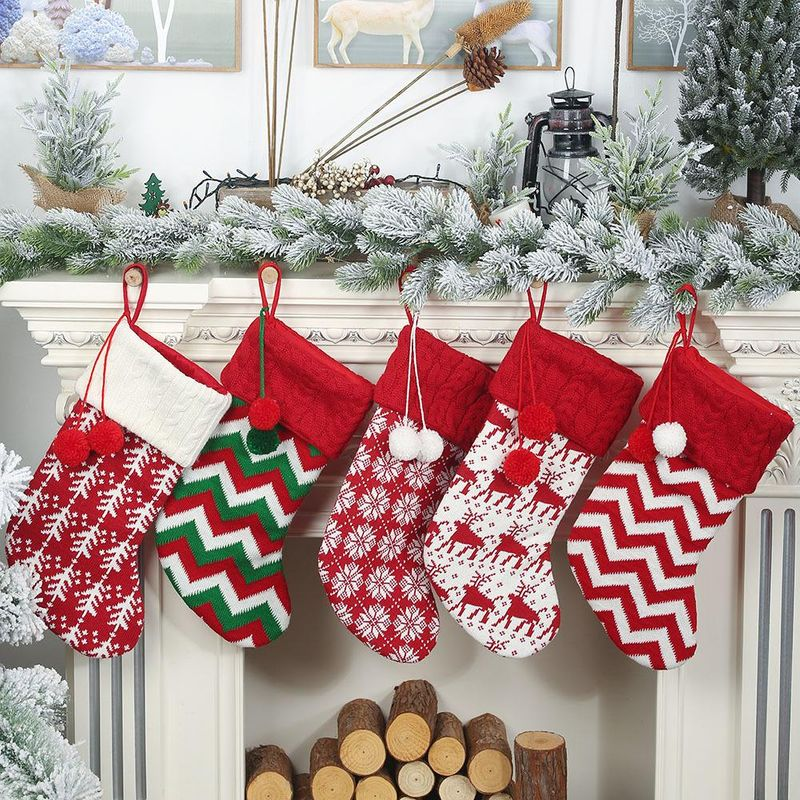 New Christmas decorations knitted Christmas socks wool socks red and white elk gift bag NHHB182575