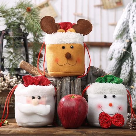 Nuevas decoraciones navideñas Bolsa de manzana con cordón de arpillera Bolsa de dulces para ancianos Bolsa de regalo para niños NHHB182577's discount tags