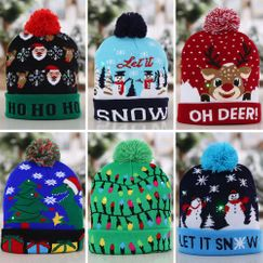 Christmas Decorations Flanged Knitted Ball Cap LED Light Cap Adult Children's Cap NHHB182578