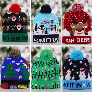 Christmas Decorations Flanged Knitted Ball Cap LED Light Cap Adult Children's Cap NHHB182578's discount tags