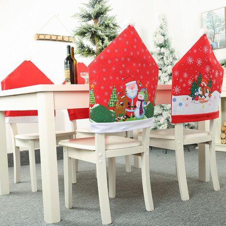 Nuevo adorno navideño Impresión anciano muñeco de nieve cubierta de silla taburete de copo de nieve silla respaldo respaldo vestir NHHB182579's discount tags